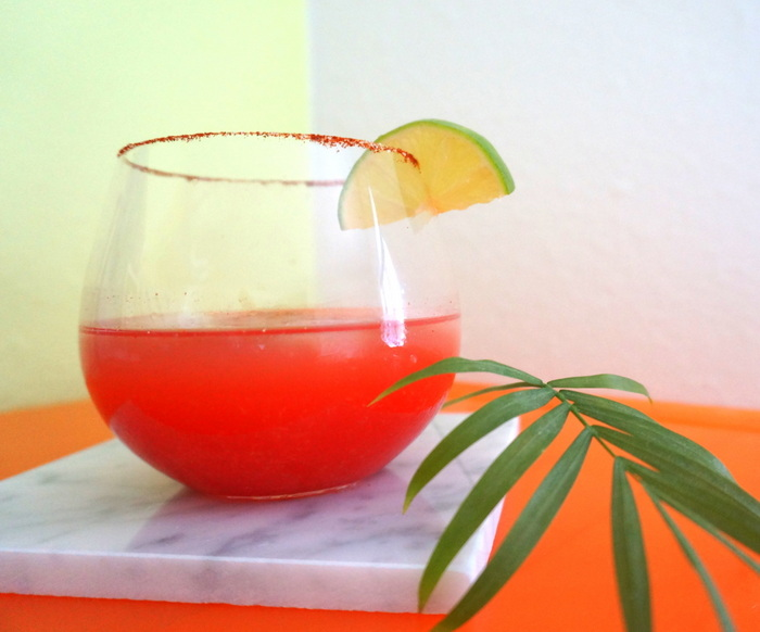 A tropical party drink with neon flair