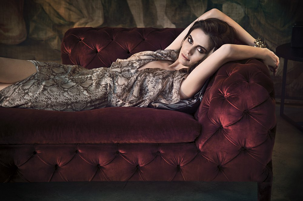 A Chaise lounge in velvet ideal for the posh contemporary living room