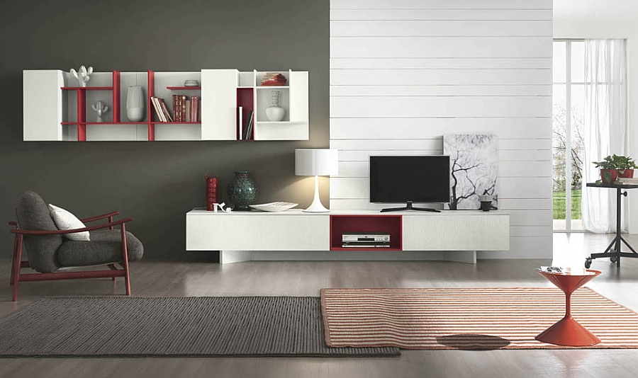 A splash of red in the white and gray living space