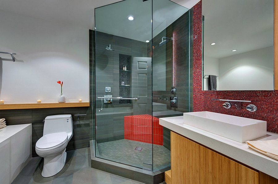 A tinge of red for the shower area [Design: Michael Tauber Architecture]