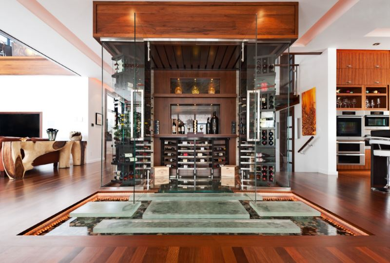 A wine cellar and indoor pond in a moder interior