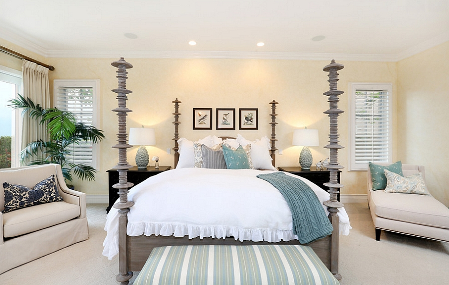 Accent additions bring pops of blue to the beach style bedroom [From: Blackband Design]