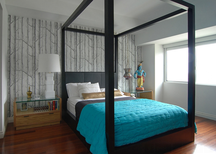 Accent wall behind the headboard draped in Woods Wallpaper