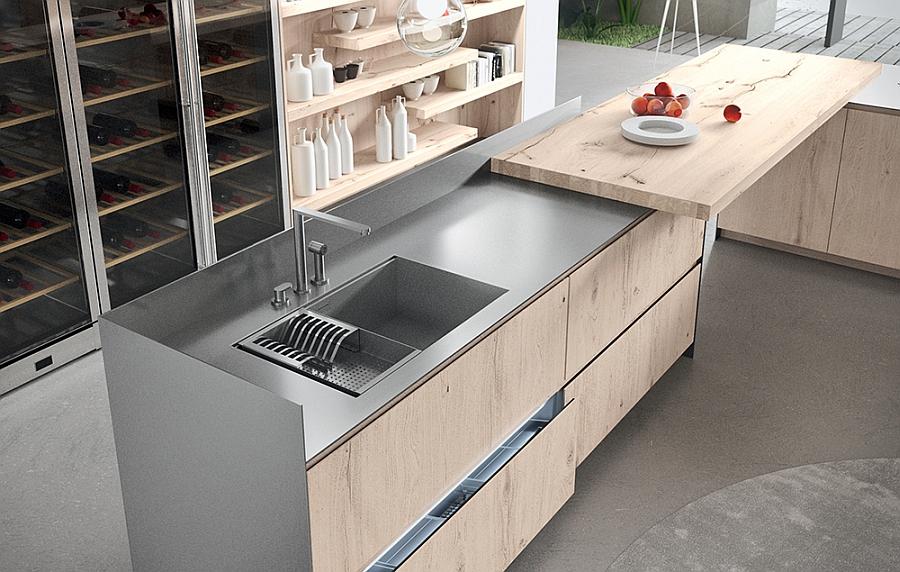 Adaptable modern kitchen idea with sustainable style