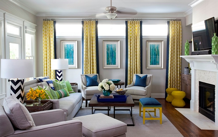 Grey Living Room With Blue Accents yellow and blue interiors: living rooms, bedrooms, kitchens