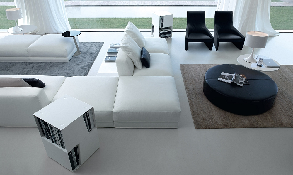 Add a trendy bookcase and coffee table to complete the setting