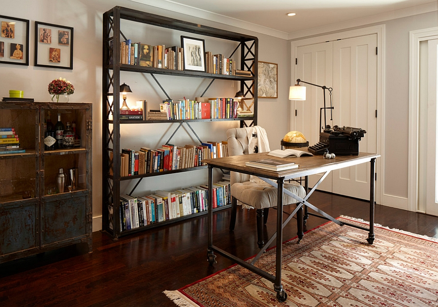Aged look of the bookshelf and the decor adds to the industrial appeal [Design: Geremia Design]