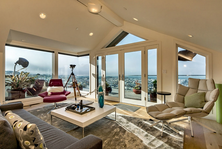 Amazing living room with a view of San Francisco 10 Attic Spaces That Offer an Additional Living Room