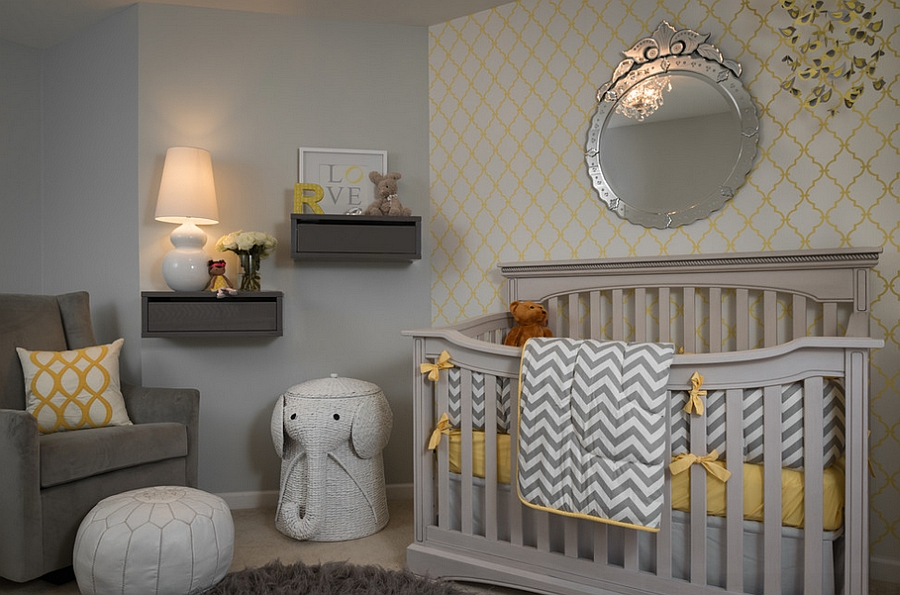 An accent wall with geometric pattern in the nursery [Design: Beckwith Interiors]
