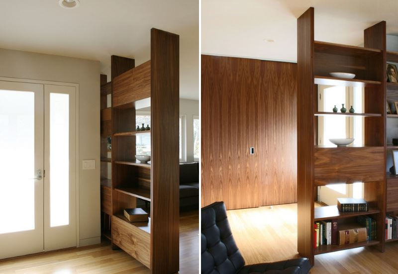 An entryway view from both sides of a bookshelf