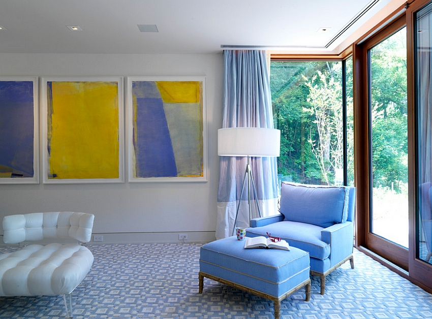 Artwork brings bright yellow into this luxurious bedroom [Design: Ziger/Snead Architects]