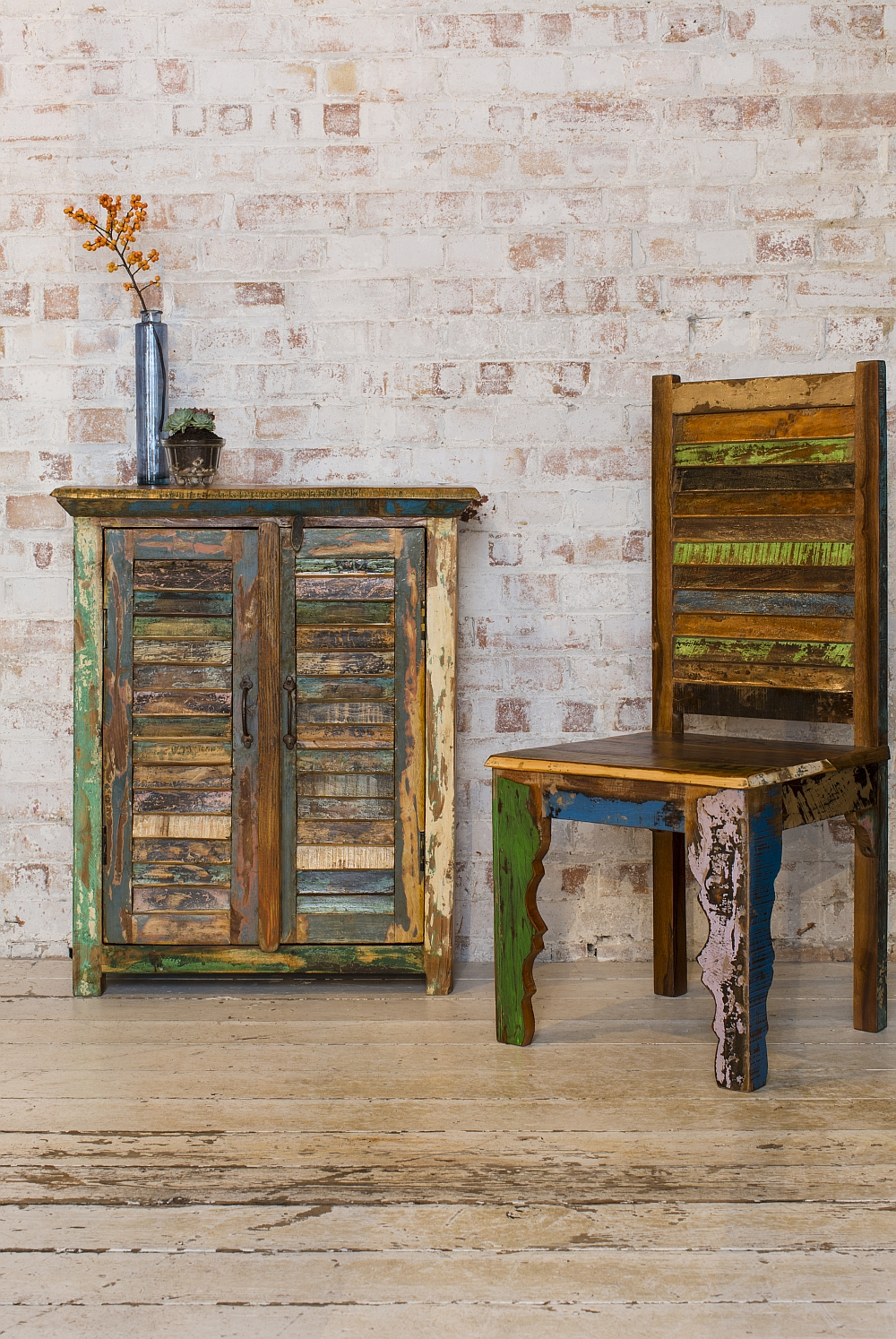 Arusha cabinet made from salvaged old shutter strips
