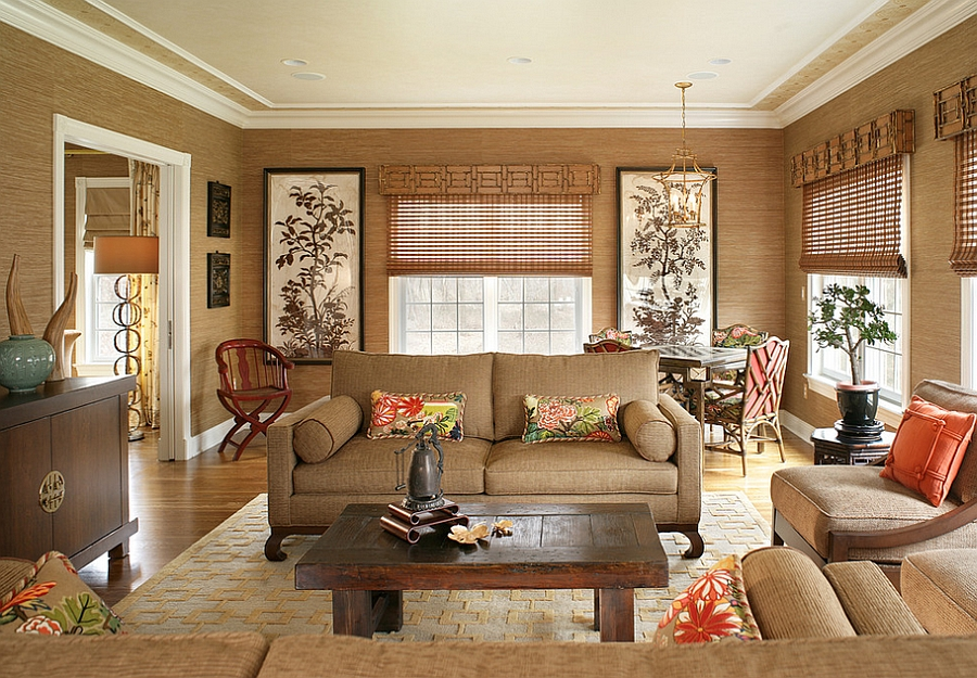 Asian inspired living room has a tranquil, organic appeal [Design: Lori Levine Interiors]