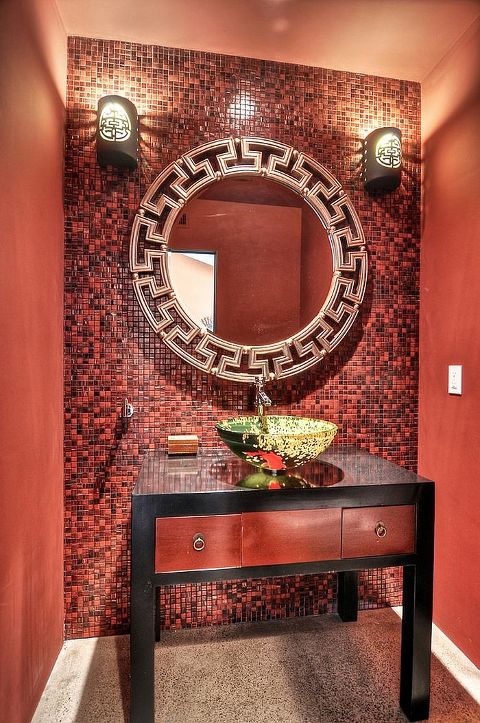 Asian style powder room in dazzling red [Design: M.A.P Interiors]
