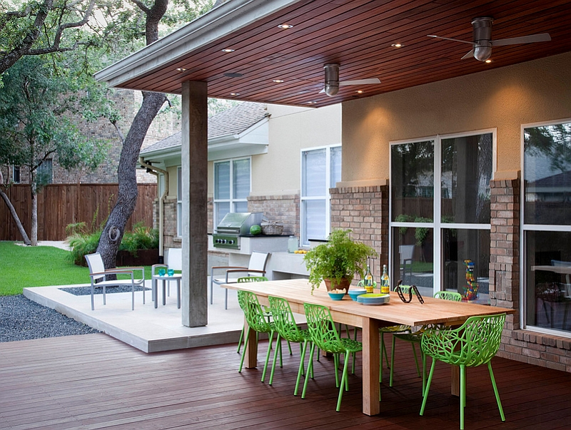 Backyard complete with outdoor kitchen and dining [Design: Austin outdoor design]