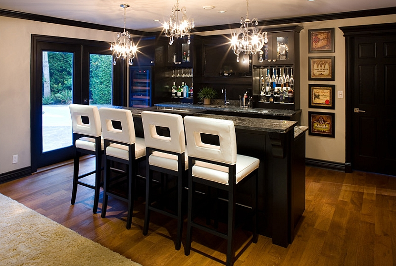 Bar stools bring brightness to the basement bar