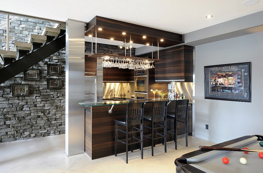beautiful basement bar makes use of space under the stairs
