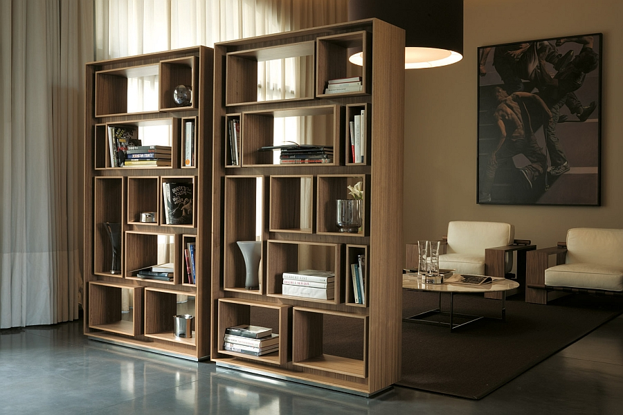 Beautiful bookshelf in wood provides plenty of display space