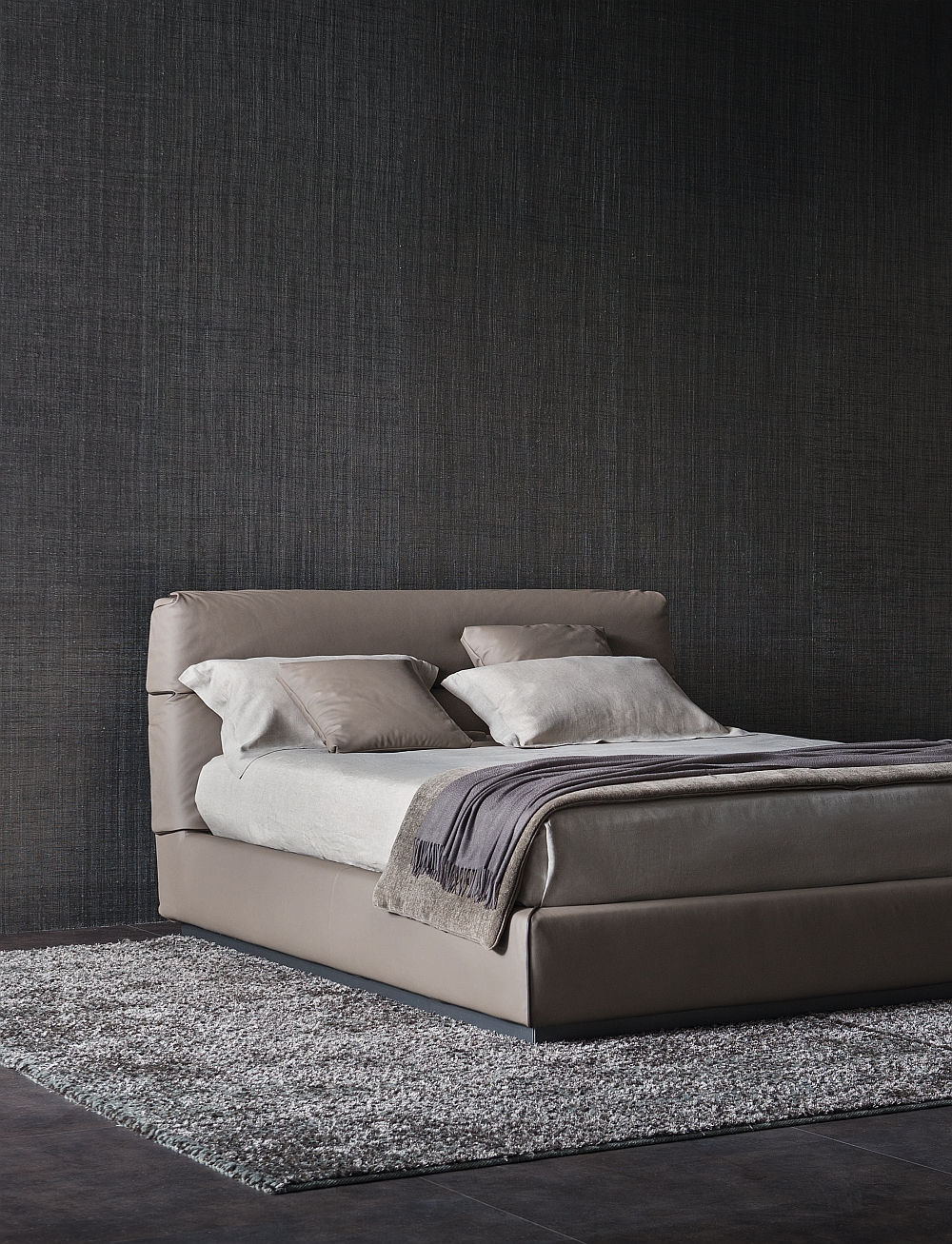 Beautiful contemporary bed with a sleek Silhouette