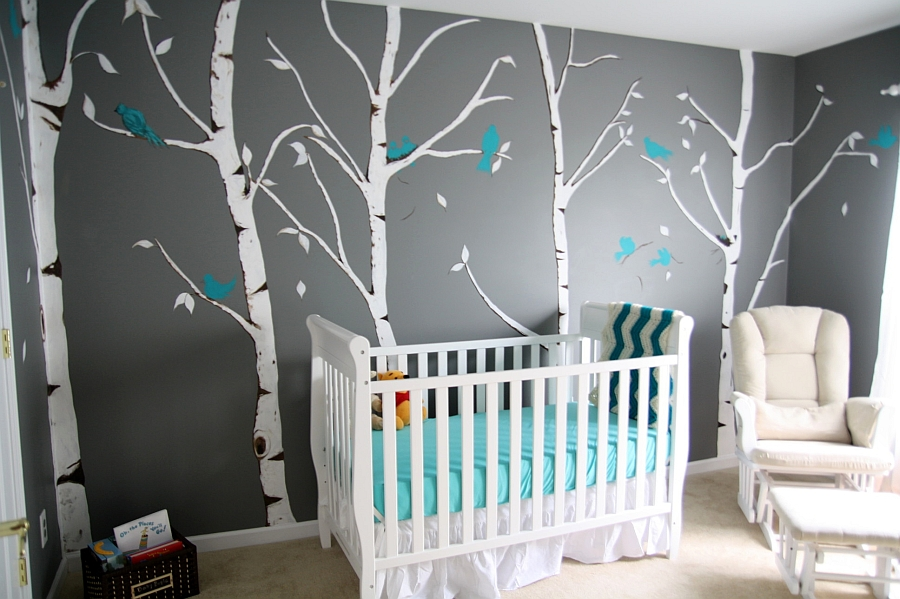 Beautiful nursery in gray and turquoise with woodsy charm! [From: Babble]