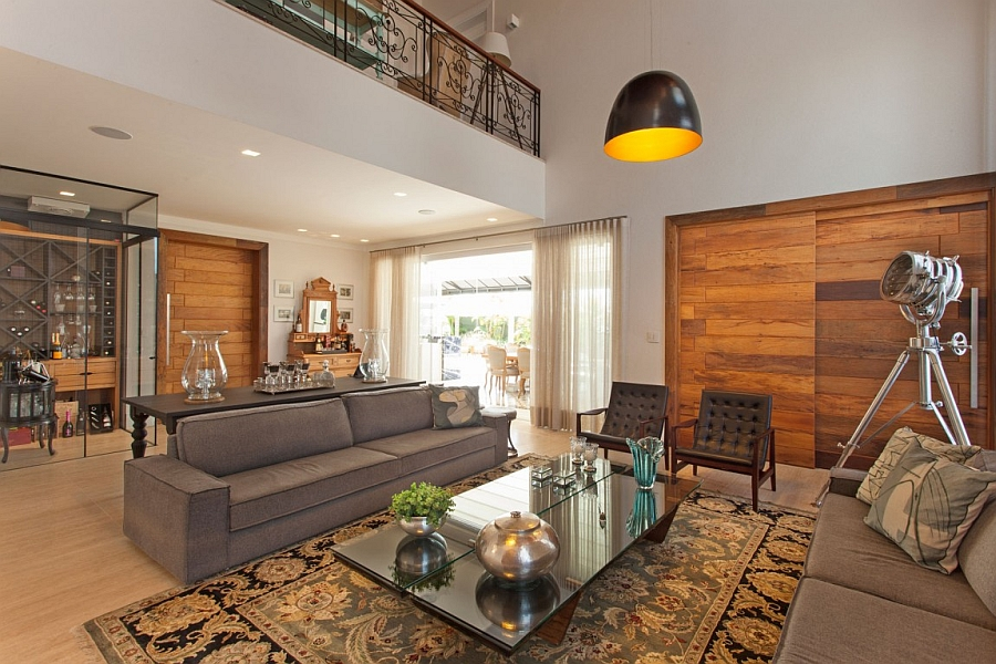 Beautiful use of wooden panels in the living room