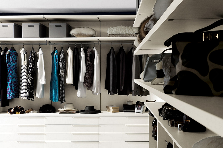 Beautiful walk-in wardrobe in white