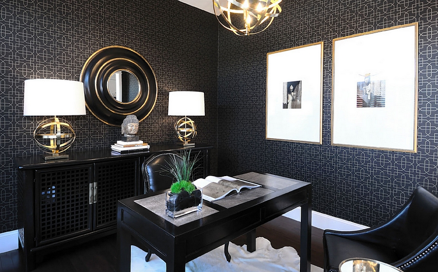Beautifully lit dark home office [Design: Atmosphere Interior Design]