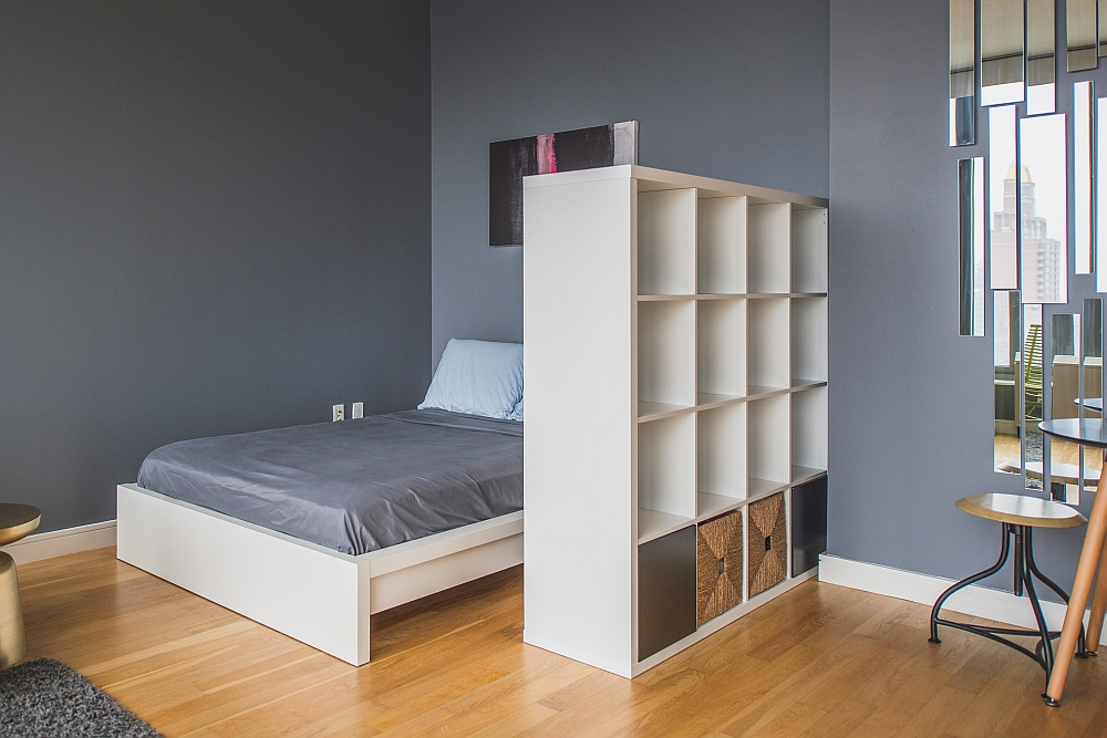 Bedroom shelf used to define and demarcate space