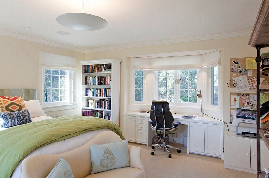Bedroom workspace with ample storage space [Design: Matarozzi Pelsinger Builders]