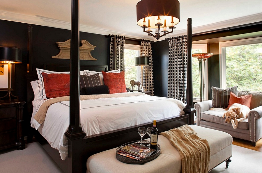 Black brings a dash of elegance to the traditional bedroom [Design: McCroskey Interiors]
