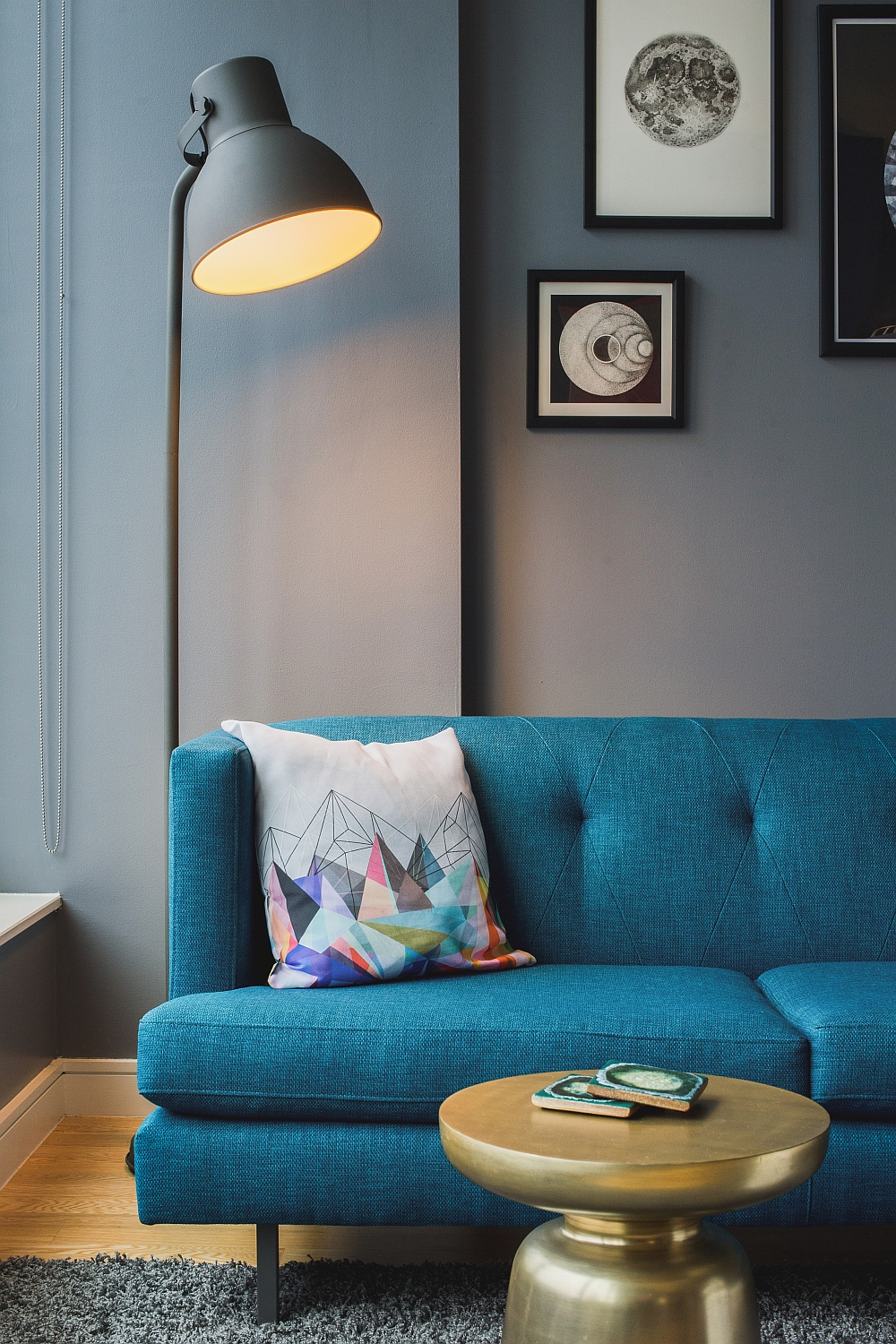 Blu Dot Standing Lamp next to the gorgeous couch