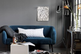 Blue micro-velvet sofa from CB2