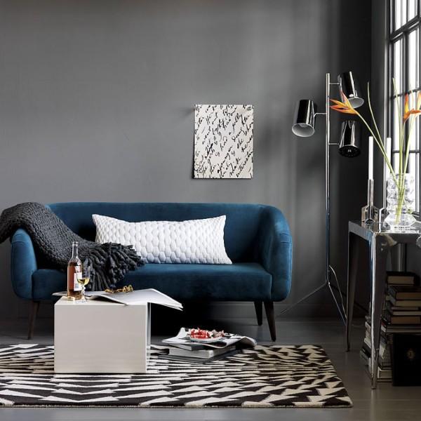 Blue Micro velvet Sofa From CB2 Decoist