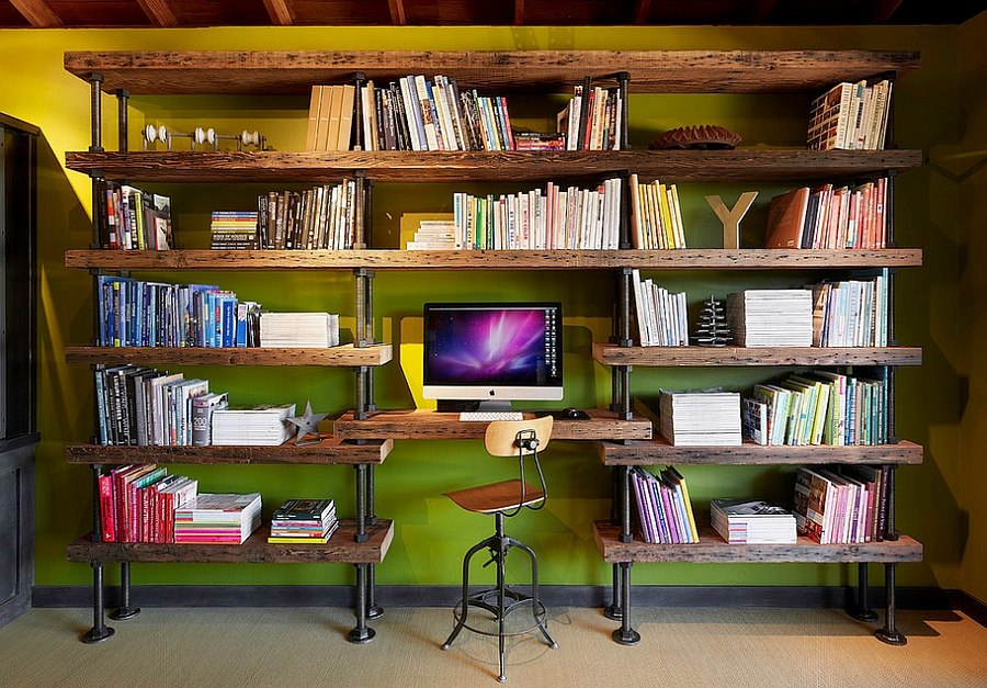 Bookshelf crafted from salvaged timber for the modern home office [Design: Poor House Interior Design]