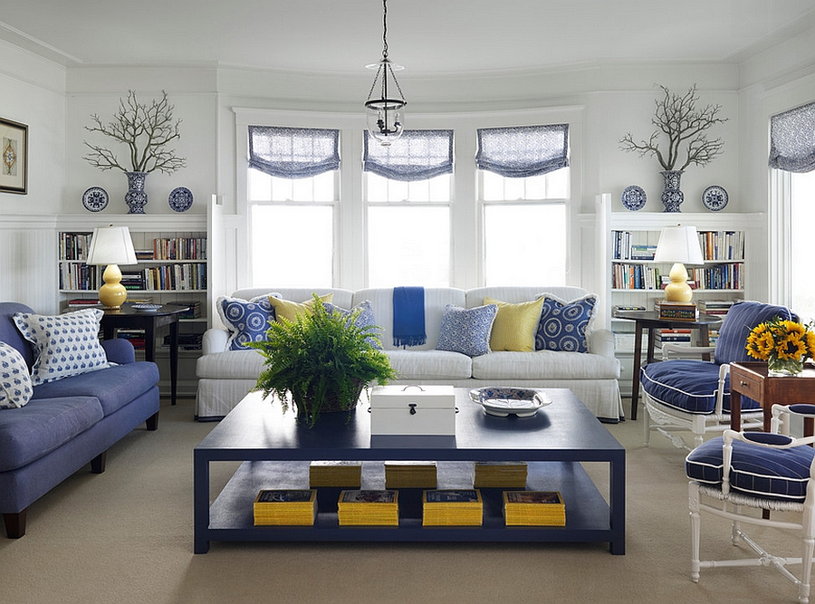 Blue Living Room Designs yellow and blue interiors: living rooms, bedrooms, kitchens