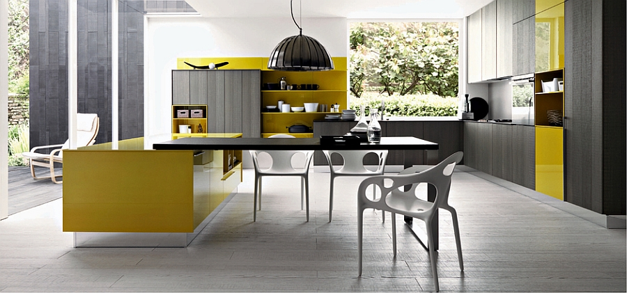 Bright pops of yellow in the stylish Italian kitchen