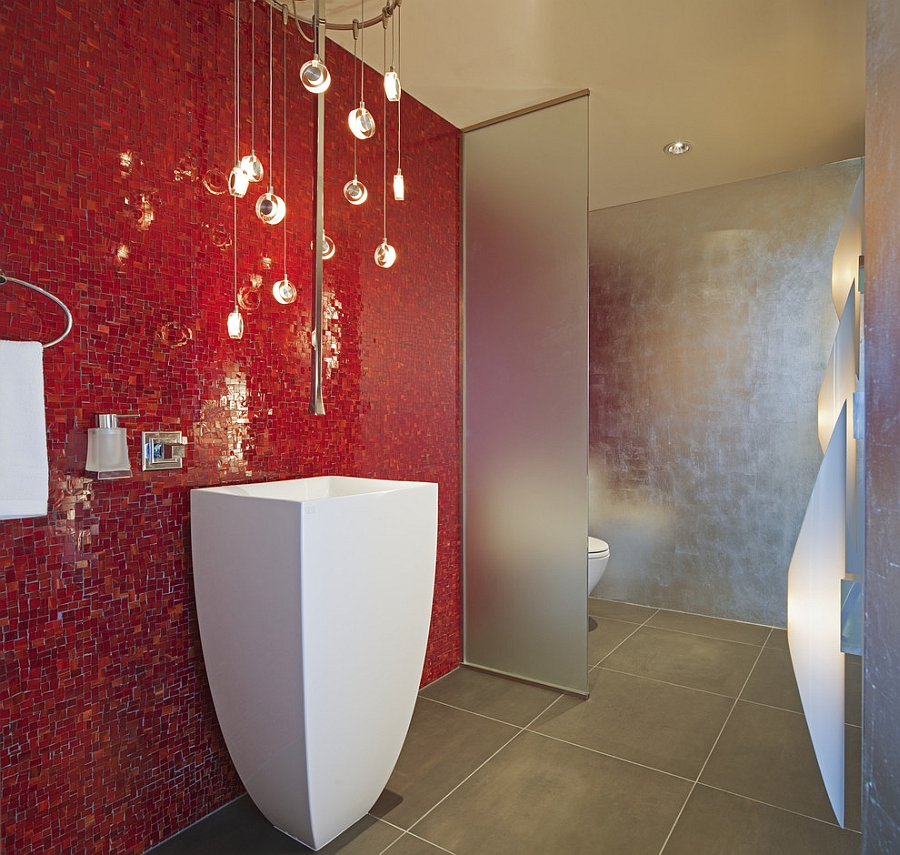 Brilliant blend of silver and red in the contemporary bathroom [Design: Venture Architecture]