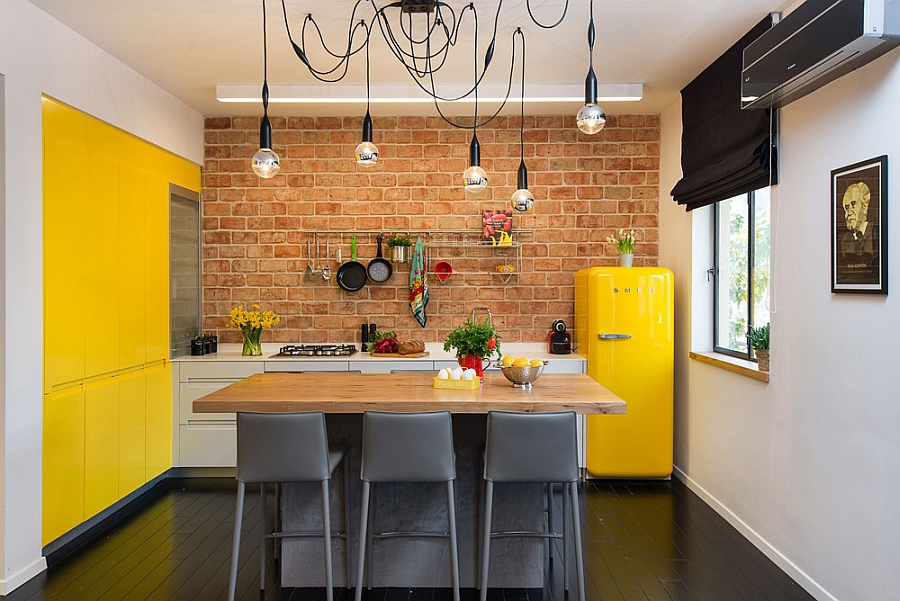 Brilliant pops of yellow in the small kitchen