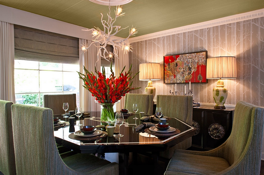 Bring some rustic charm to the modern dining space with Woods Wallpaper [Design: Elizabeth Gordon]