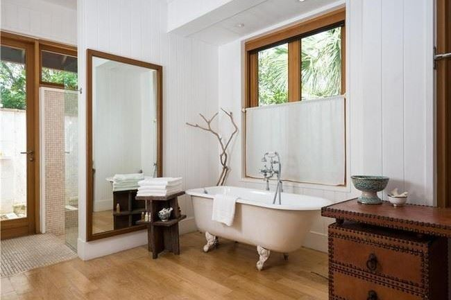 Caribbean bathroom with wooden accents