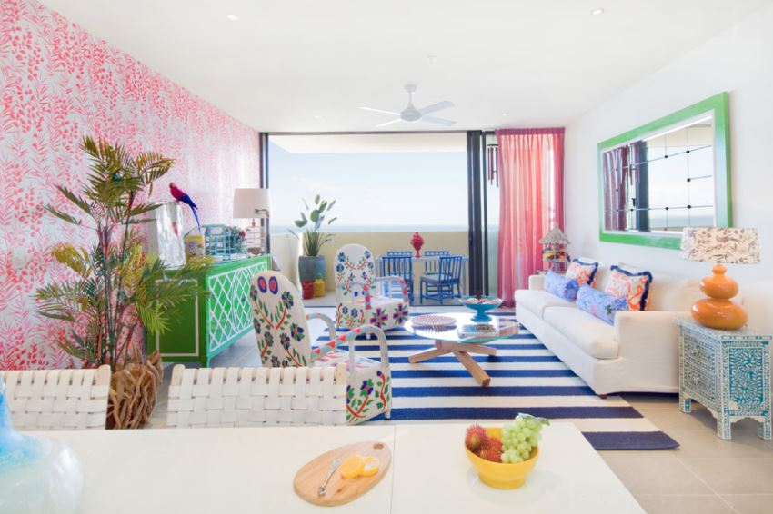 Caribbean color in a vibrant interior