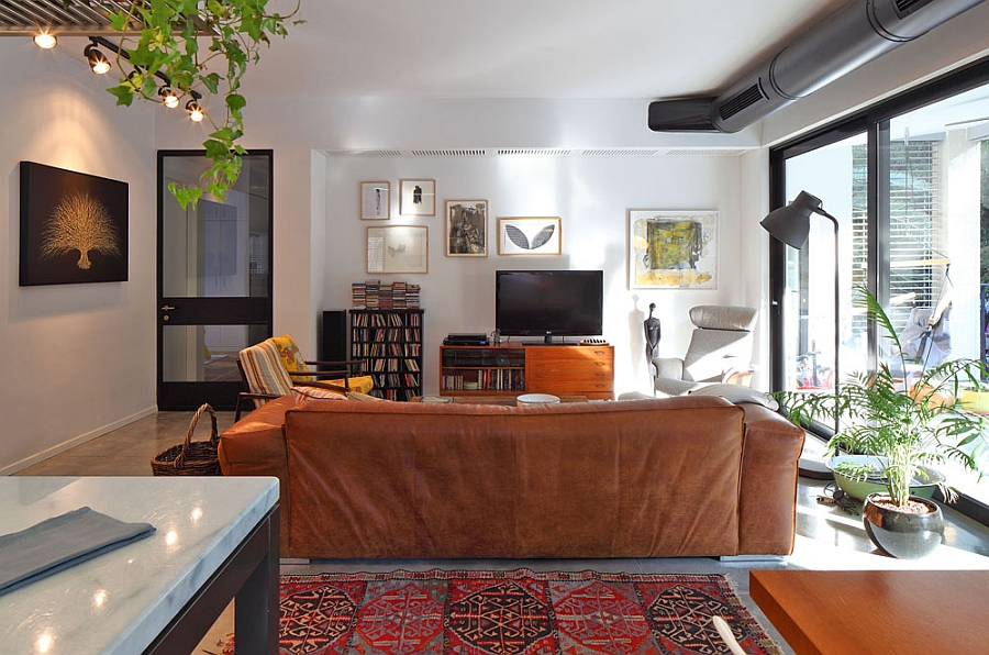 Central living room of the renovated Tel Aviv apartment
