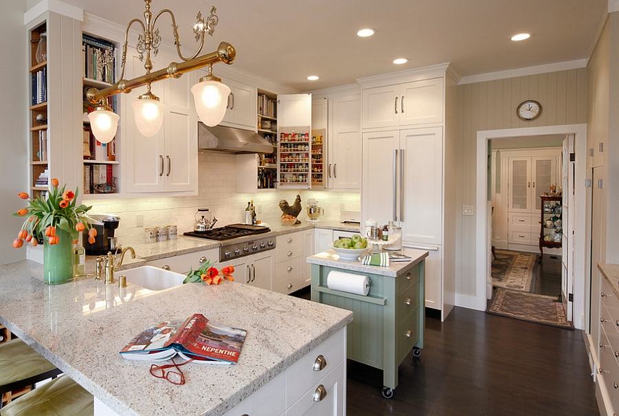 View in gallery Cheerful kitchen with small island on wheels [Photography:  Dennis Anderson]