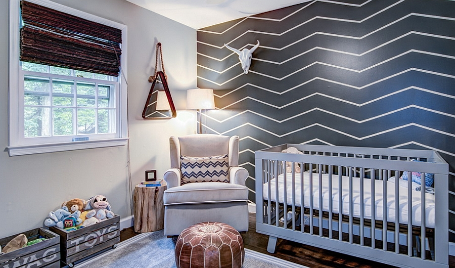 Chevron accent wall created with tape and paint [Design: Kristin McCue]