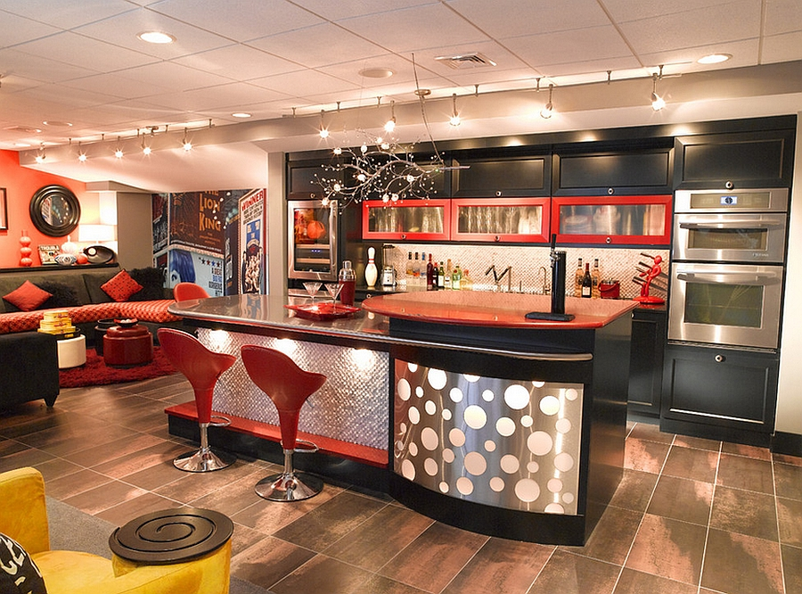 View In Gallery Chic Basement Bar Takes You Back To The 70s! [Design:  Kitchen Encounters]