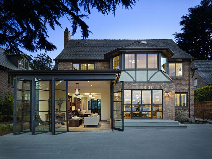 Classic seattle lakefront house gets a bookish modern twist for Traditional and modern houses