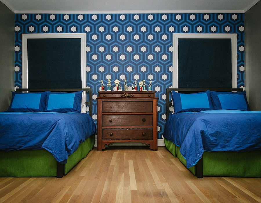Cole & Son's Hicks' Hexagon wallpaper in Kids' bedroom [From: Schroeder Carpet & Flooring]