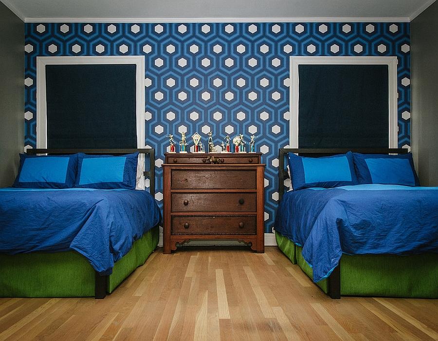 Cole & Son's HIcks' Hexagon wallpaper in Kids' bedroom