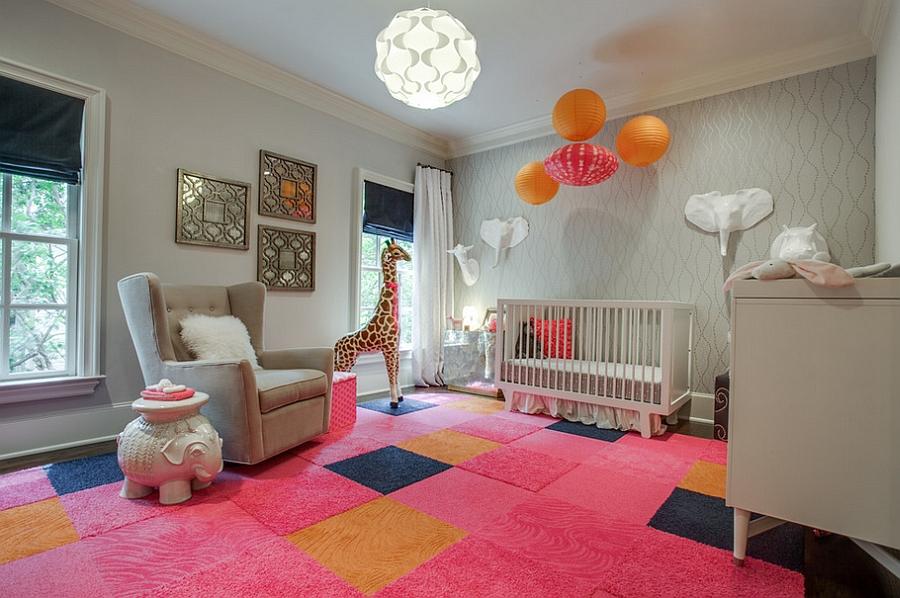 Colorful and classy girls' nursery idea [Design: Blu Sky Living]