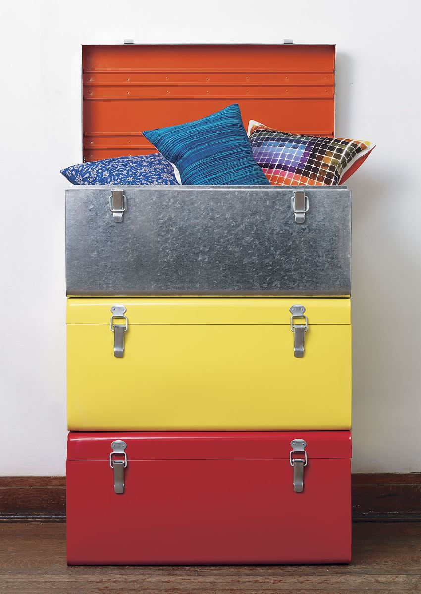 Colorful galvanized trunks